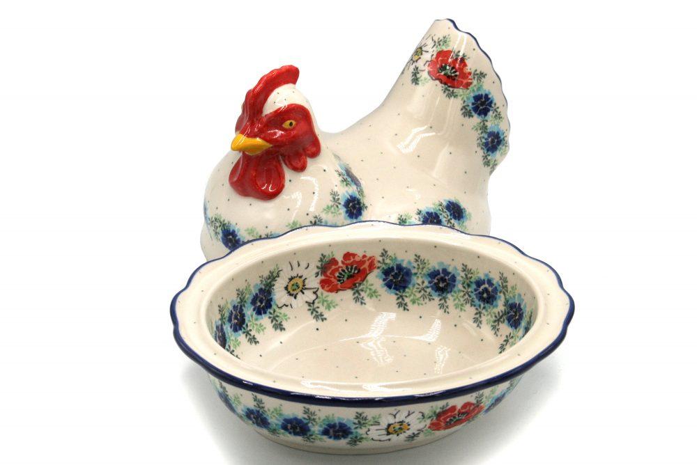 boleslawiec kura pojemnik mak i stokrotka ceramika boleslawiec 3