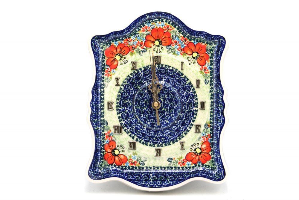 boleslawiec zegar maki ceramika boleslawiec